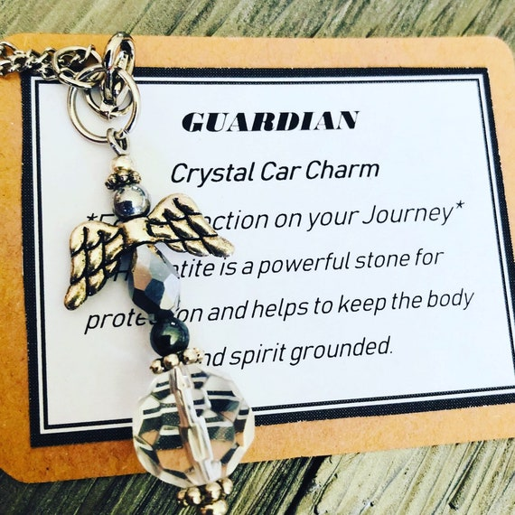 Crystal Suncatcher, Crystal Car Charm, Rearview Mirror Charm, Guardian, Angel Mirror Charm, Safe Travels