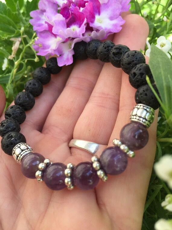 LET IT BE Healing Amethyst and Lava Stone Essential Oil Diffuser Bracelet February Birthstone