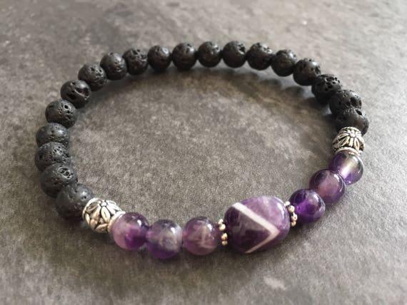 Amethyst Diffuser Bracelet, Lava Stone Bracelet, Amethyst Bracelet, Purple Crystal Bracelet, Purple Stone Bracelet, Diffusing Jewelry,