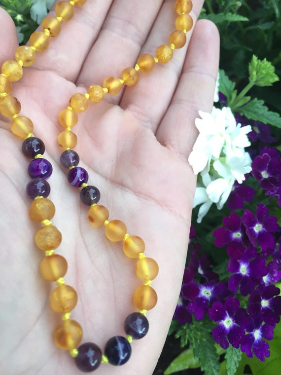 Raw Baltic Amber Teething Necklace, Amber Teething Necklace, Teething Anklet, Amethyst Amber Necklace, February Birthstone, Purple Haze