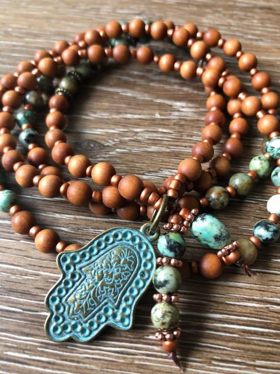Sandalwood Mala, Hamsa Mala Necklace, African Turquoise Mala, Earthy Mala, Meditation Beads, Prayer Beads, 108 Mala, Japa Mala