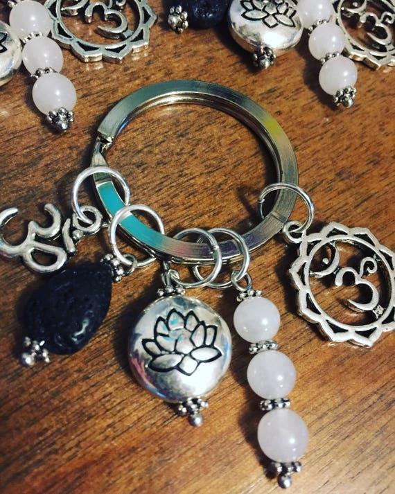 Lotus Keychain, Om Keychain, Yoga Teacher Gift, Yogi Gift, Essential Oil Diffuser Keychain, Lotus Flower Keychain, Om Keychain, Be the Light