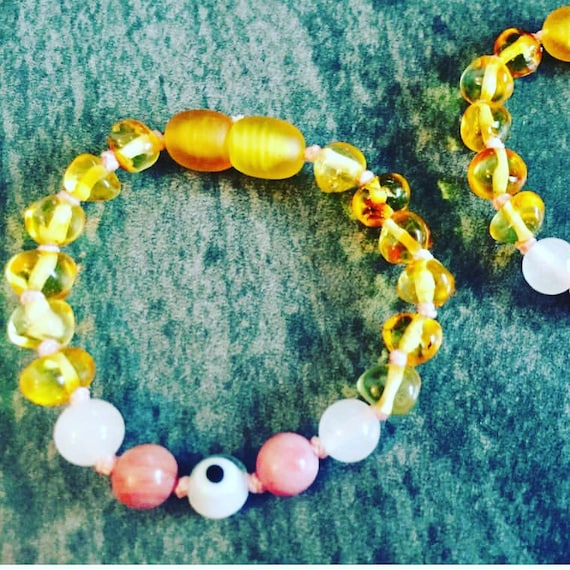 Amber Teething Anklet, Infant Anklet, Baltic Amber Jewelry, Pink Stone Anklet, Evil Eye Anklet, Rose Quartz Anklet, Yellow Amber Anklet