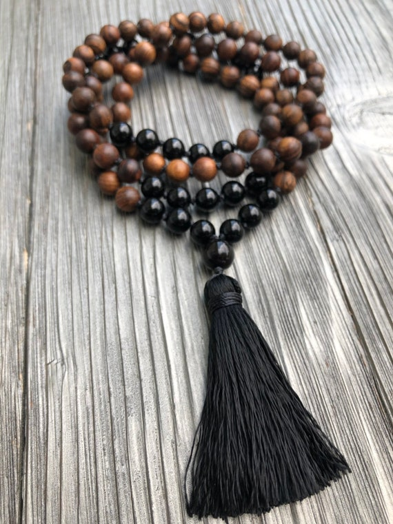 Sandalwood Mala, Black Onyx Mala Necklace, Protection Mala, Yoga Necklace, Tassle Necklace, Beaded Tassle Necklace, Hand-Knotted Mala
