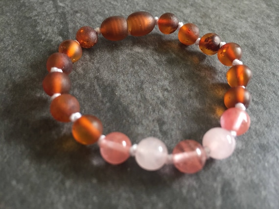 Baltic Amber Baby Anklet, Teething Anklet, Infant Teething Anklet, Rose Quartz Anklet, Lil Sweetie, Amber Jewelry
