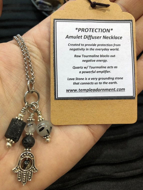 Empath Protection, Protection Necklace, Raw Black Tourmaline Necklace, Hamsa Necklace, Templeadornment, Essential Oil Diffuser Necklace,