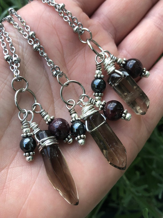 Energy Healer Protection Necklace, Empath Necklace, Reiki, Smoky Quartz Crystal Necklace, Garnet Charm Necklace, Hematite Charm Necklace