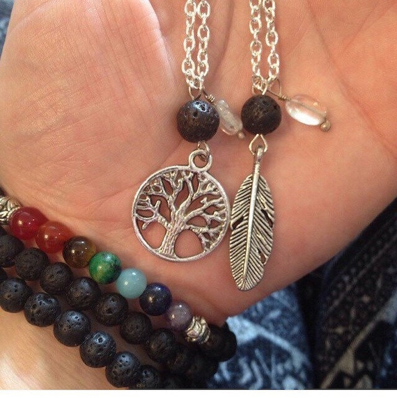 Tree of Life / Feather Quartz Charm Essential Oil Diffuser Pendant Necklaces