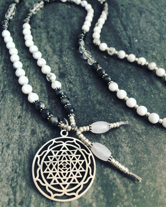 Sri Yantra Mala Necklace, Shri Yantra Pendant, White Mala Necklace, Feminine Mala Necklace, Goddess Necklace, Yoga Teacher Gift, Quartz Mala