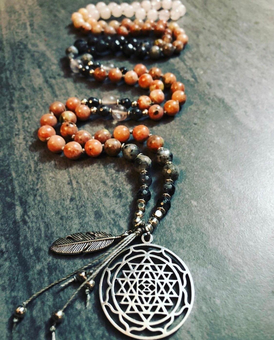 Sri Yantra Mala Necklace, Sri Yantra Pendant, Pink Mala