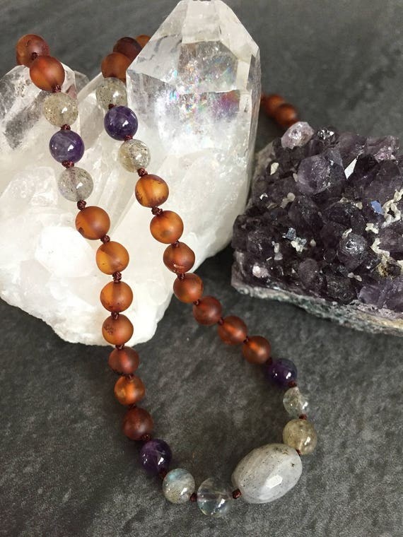 MOTHER'S INTUITION Baltic Amber Necklace,Amethyst and Labradorite Necklace, Mother's Day, Mom, Mothers Day Gift, February Birthstone