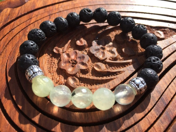 Lava Stone Bracelet, Essential Oil Diffuser Bracelet, Prehnite Bracelet, Green Crystal Bracelet, Connection Bracelet