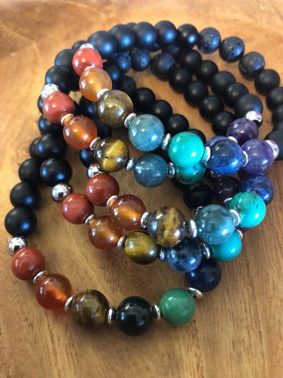 Chakra Bracelet, Chakra Diffuser Bracelet, Rainbow Bracelet, Mala Beads, Wrist Mala, Yoga Bracelet, Yoga Lover Gift, Gifts For Her