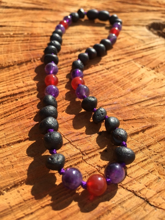 Baltic Amber Necklace, Amethyst Teething Necklace, Teething Anklet, Amethyst, Red Agate, Lil Hipster