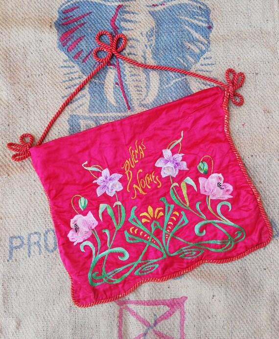 Vintage 1930s-1940s Satin Lingerie Bag, Antique Sa