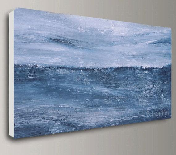 Bleu Gris Acrylique Peinture Abstraite Mur Art Décor Intérieur Bureau à L Huile Grande Toile Textured Impasto Couteau Palette Moderne Fine Art Visi