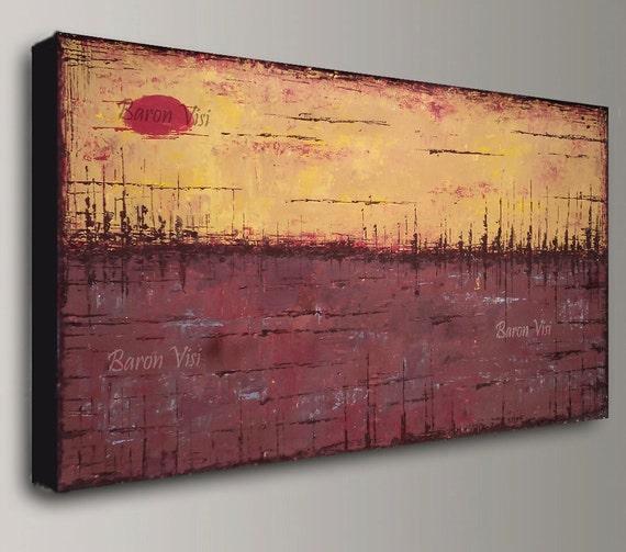 Braune Abstrakte Acryl Malerei Braun Gelb Strukturierte   Etsy