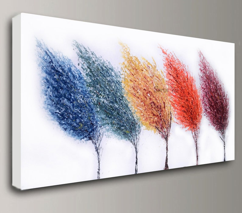 abstract painting Acrylic multi colour trees art original image 0