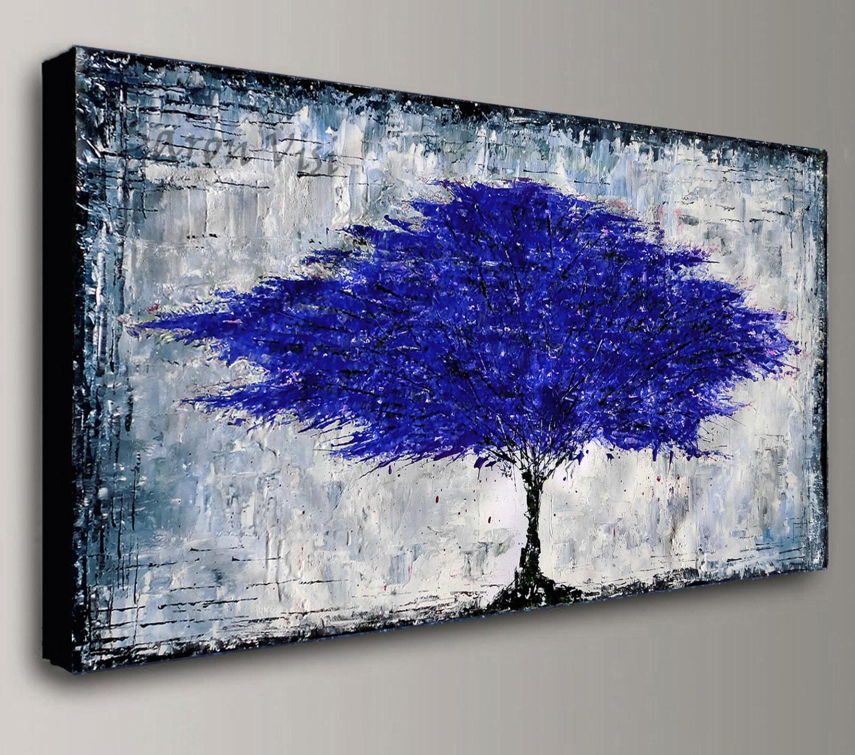 blau grau Kunst abstrakte Malerei Acryl-Gemälde Öl blau grau   Etsy