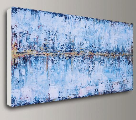 Gold Blau Weiß Abstrakt Acryl Malerei Wand Kunst Malerei | Etsy