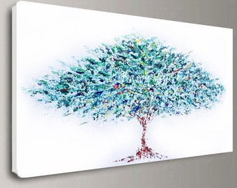 abstract painting Acrylic tree green wall art tree home office interior decor large canvas Textured impasto modern palette knife Fine Visi x