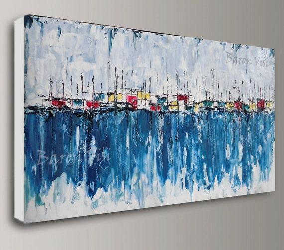 Wonderlijk Abstract schilderen Acryl schilderij kunst schilderij blauw | Etsy OG-07