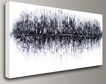 black white painting, Abstract acrylic Painting Oil original wall art home office interior decor impasto canvas art Baron Visi custom