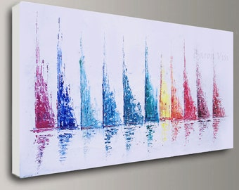 abstract Painting Acrylic painting boats large canvas home office interior decor wall art modern Textured contemporary Visi custom y