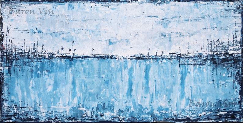 Interieur Ice Blauw : Schilderij abstract schilderen acryl olie textured impasto etsy