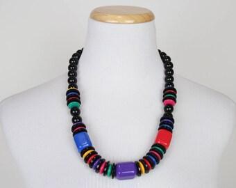Black Rainbow Plastic Beads Necklace + Vintage 80s 90s Bold Statement Necklace + Chunky Necklace + Avant Garde Necklace +