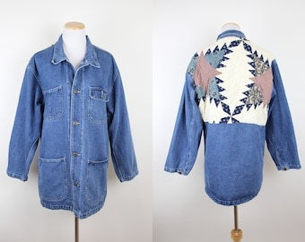 531c2409c81 Vintage Denim Chore Jacket with Quilted Back Patch
