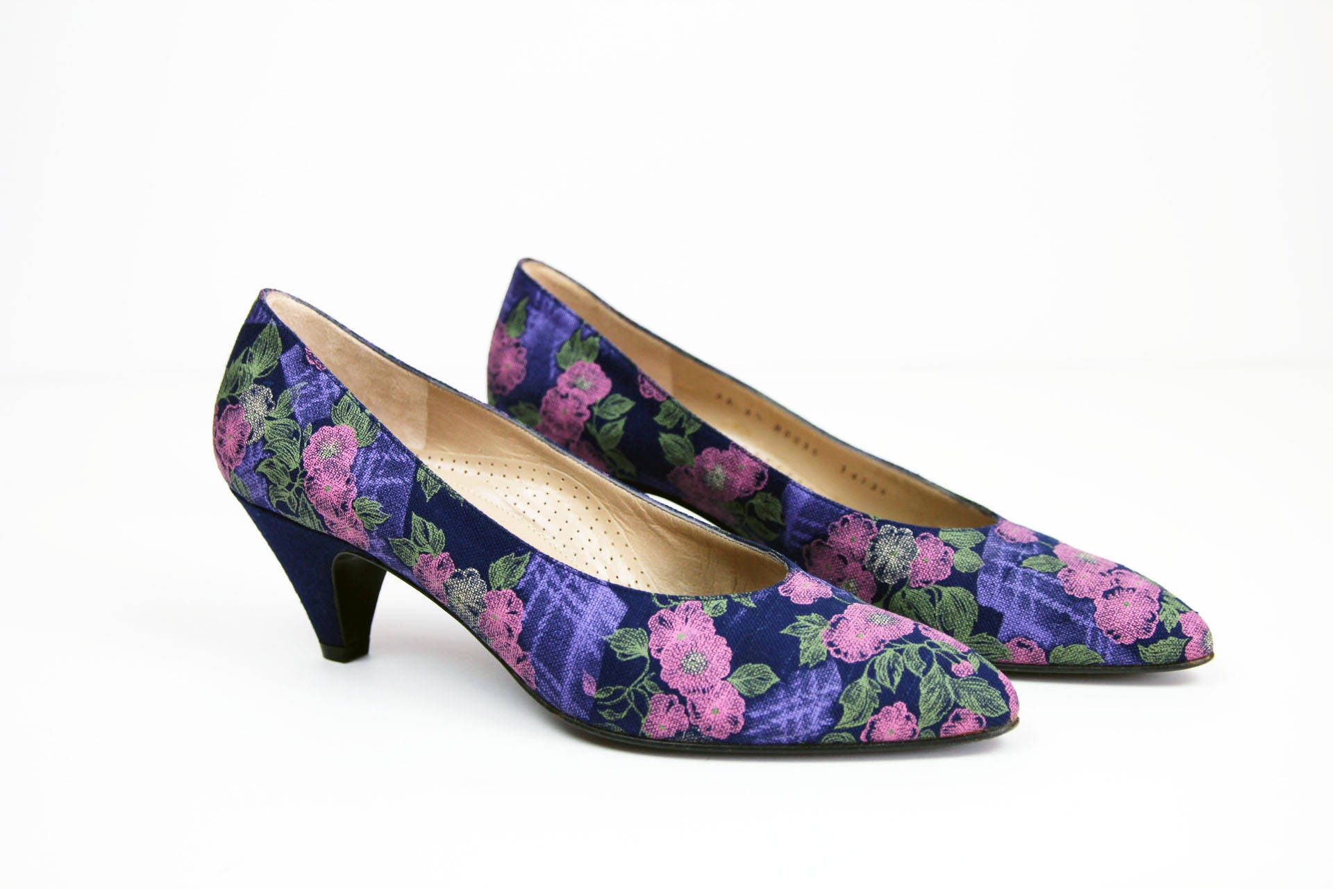 3bd5be2f2d3ec BRUNO MAGLI Floral Pumps + Size 8.5 AA Narrow + Vintage 80s Navy Blue Heels  + Flower Print Heels + Pink Purple Cream Green + Pointed Toe +