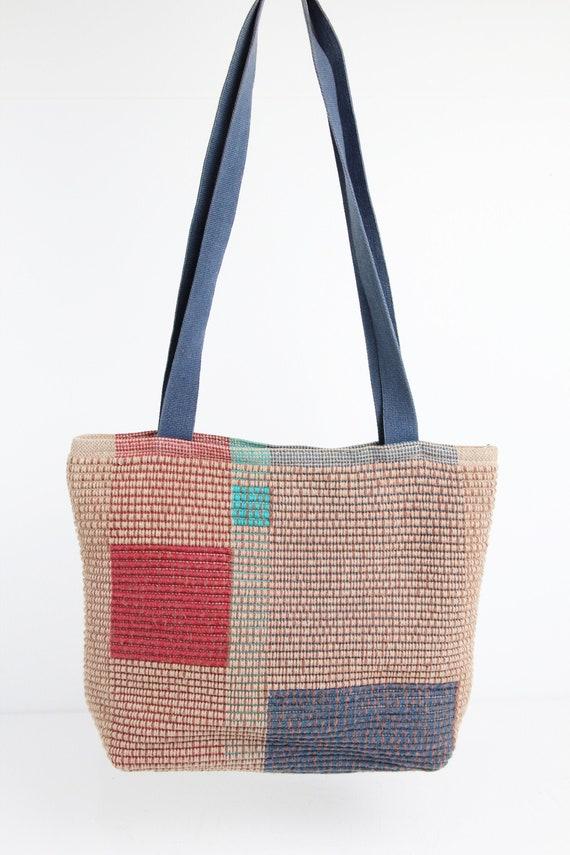 Vintage Handmade Fiber Art Shoulder Bag, Woven Cot