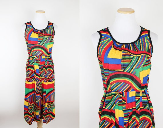 Vintage Japanese Mod Geometric Print Midi Dress, P