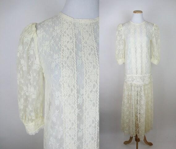 Vintage 80s does 20s Sheer Floral Lace Dropwaist D