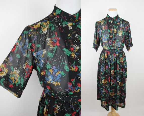 Vintage Black Abstract Floral Print Skirt Set, S /