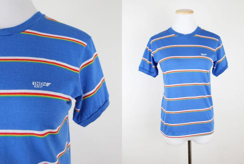 3af62ab6c Vintage 80s Striped Ringer Tee XS/S Cobalt Blue Indy Knit | Etsy
