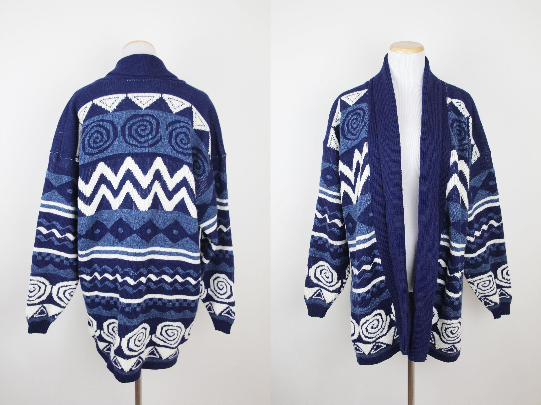 Vintage Southwestern Striped Sweater Duster, ONE SIZE, Vintage 90s Navy Blue Cardigan Sweater Jacket, Open Front Duster, Southwest Geometric