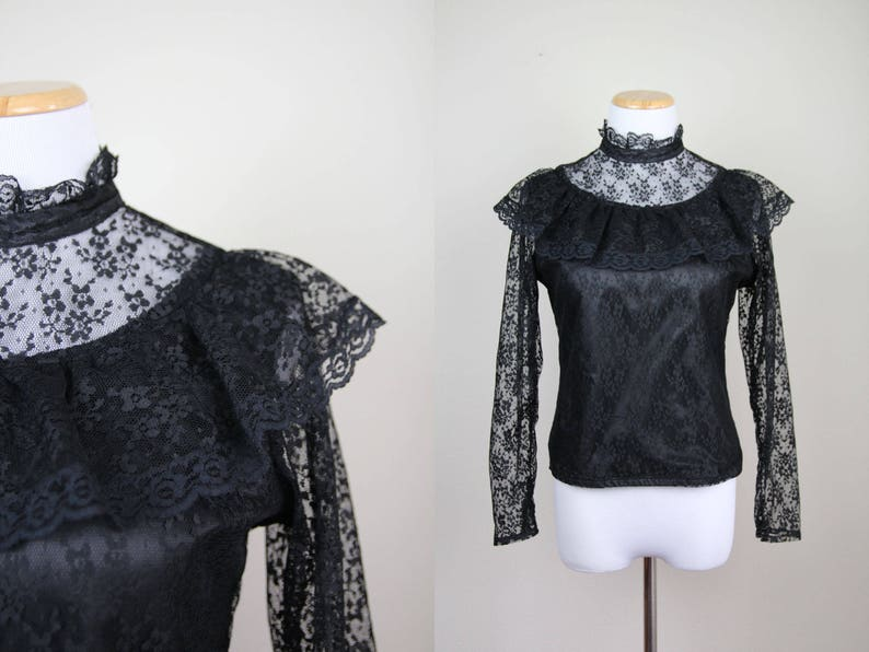 61761788a6a Sheer Black Lace Cropped Blouse Vintage 80s does Victorian