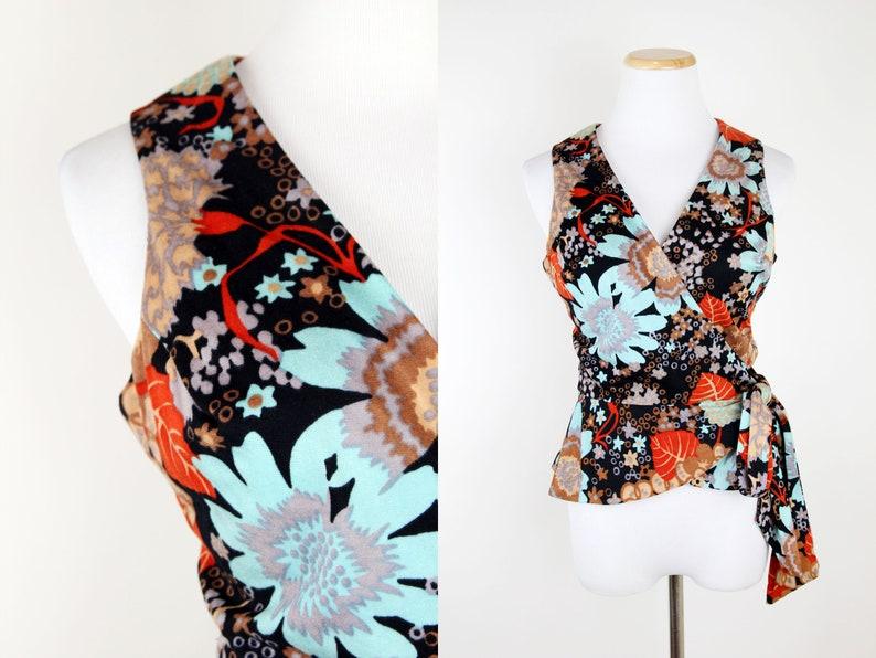 9da721ebf3ca Vintage Psychedelic Floral Print Wrap Top XS Vintage 60s 70s   Etsy