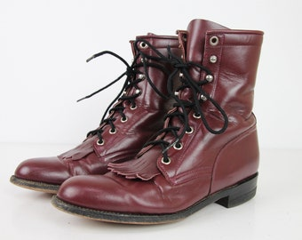 Vintage JUSTIN Oxblood Leather Granny Boots, WOMENS 6.5 B, Vintage 90s Western Lace Up Roper Boots, Rodeo, Cowgirl, Burgundy Western Boots