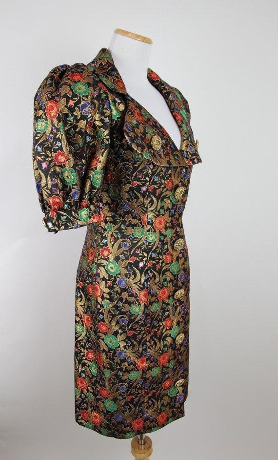 Vintage 80s VICTOR COSTA Gold Brocade Dress, 6 / … - image 6