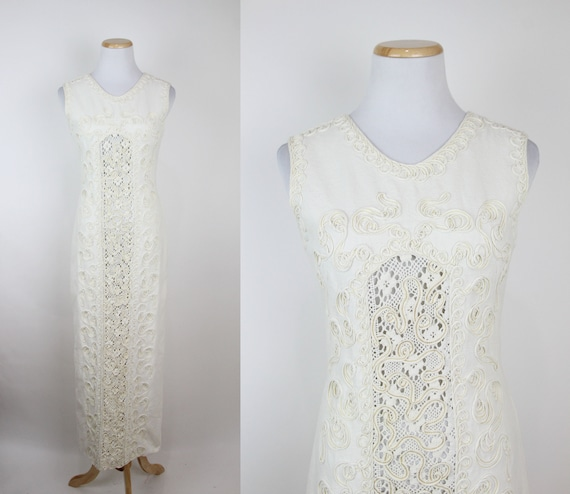 Vintage 70s Cream Cotton Lace Maxi Dress, XS, Unbl