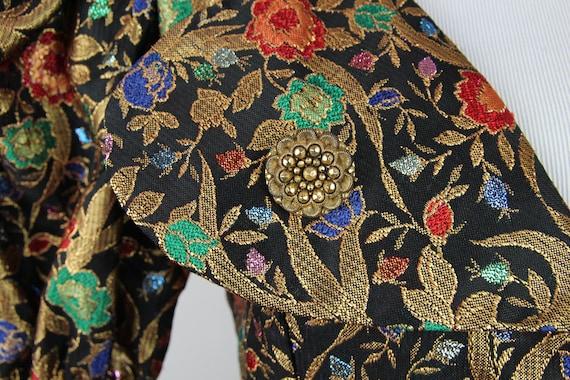 Vintage 80s VICTOR COSTA Gold Brocade Dress, 6 / … - image 3
