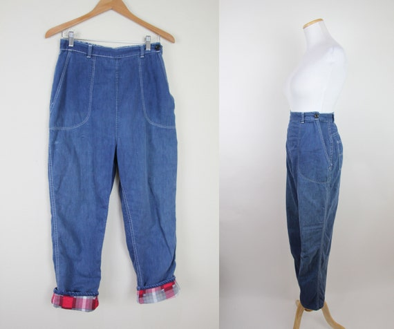 Vintage 40s 50s Flannel Lined Jeans, 28x26 ACTUAL