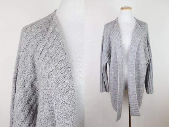 Vintage Gray Ribbed Sweater Jacket, ONE SIZE, Vint