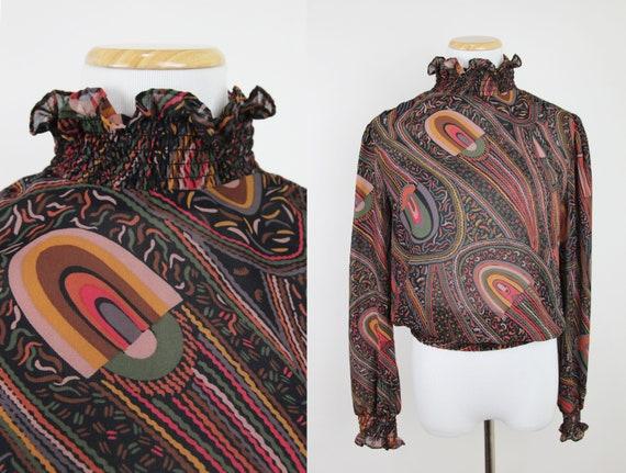 Vintage LILLIE RUBIN Sheer Geometric Print Blouse,