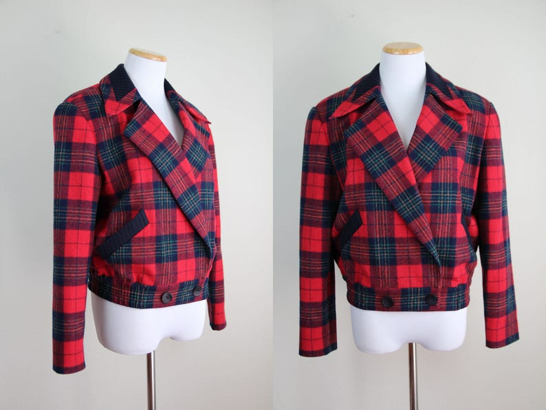 d285db00e Red & Navy Blue Tartan Plaid Bomber Jacket + Vintage 80s Structured Wool  Jacket + Wide Collar + Red Checkered Jacket + Boxy Fit +