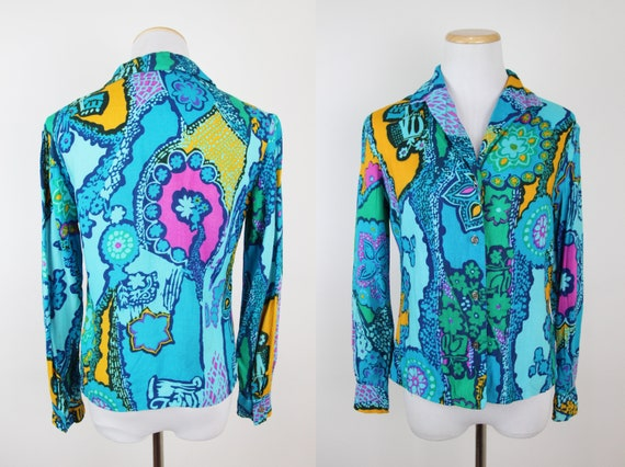 Vintage 60s Psychedelic Print Button Up Shirt, XS