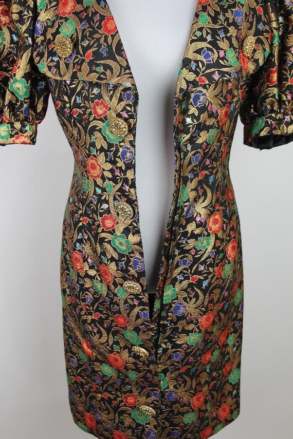 Vintage 80s VICTOR COSTA Gold Brocade Dress, 6 / … - image 7
